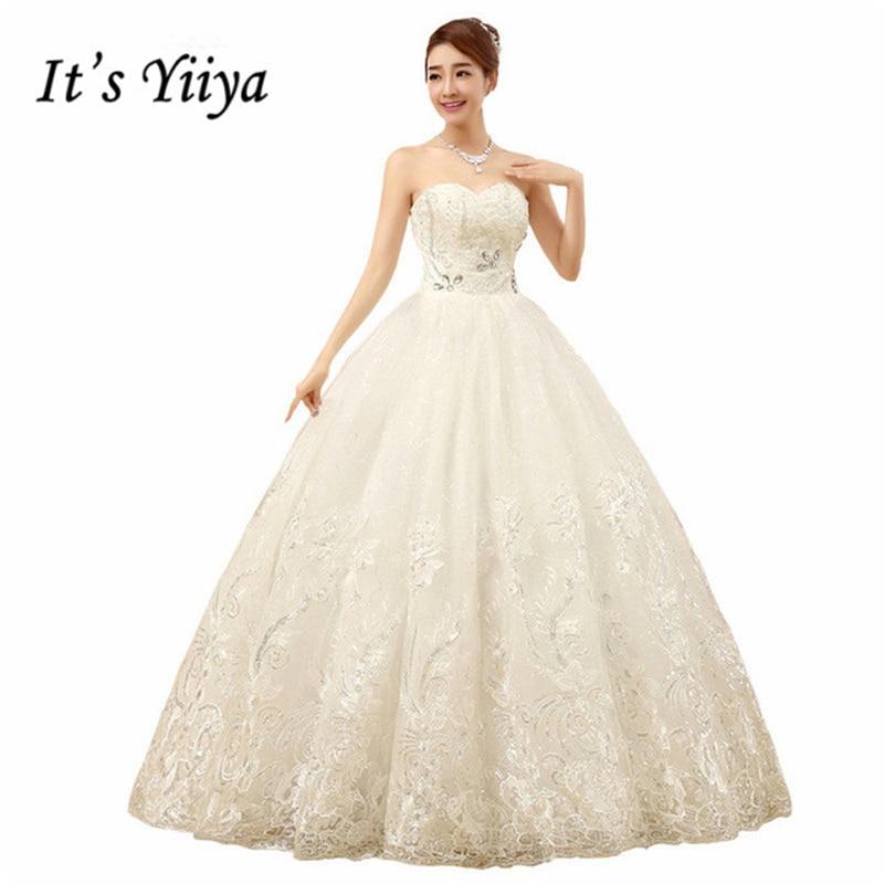 It's Yiiya Cheap White Princess Wedding Frocks Vestidos De Novia Sequins Strapless Lace Wedding Dresses Bride Frocks XXN085