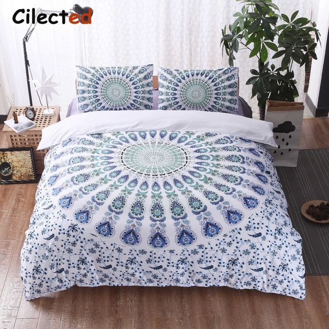 set bohemian twin printing white double filling no single queen sheet mandala king size boho cover duvet sets black bedding product blue