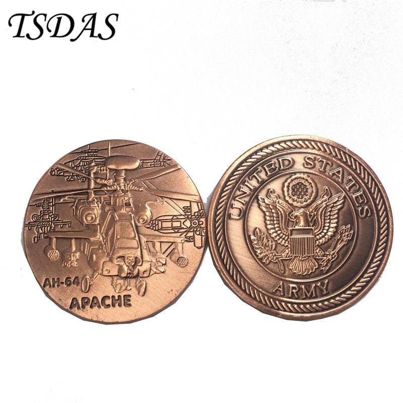 US Air Force Challenge Copper Coin AH-64 Apache Commemorative Brass Coin US Army Metal Coin for Collection