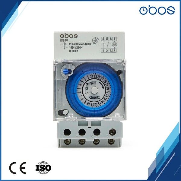 Envío Gratis OBOS 220V AC din rail, temporizador de 24 horas de encendido/apagado 48 veces con unidad de ajuste mínima, miniinterruptor mecánico de 30min. Ultra grande, pantalla de 3