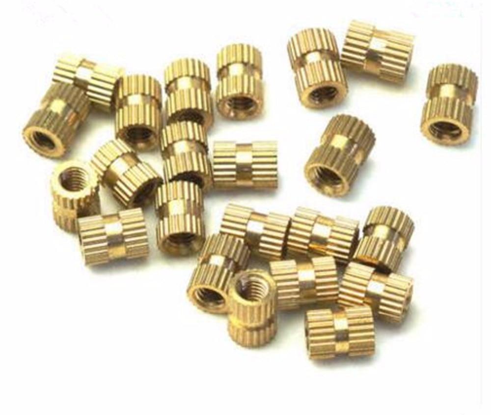 все цены на 100PCS M3*3*4mm OD 4mm Brass Inserts Double Pass Copper Knurl Nut Embedded Fastener онлайн