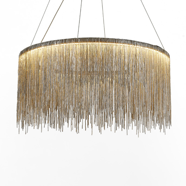 Modern Fringed Aluminum Chain Chandelie Lights Nordic Style Color Dimming Dining Room Hanging Lighting Art Chandelier