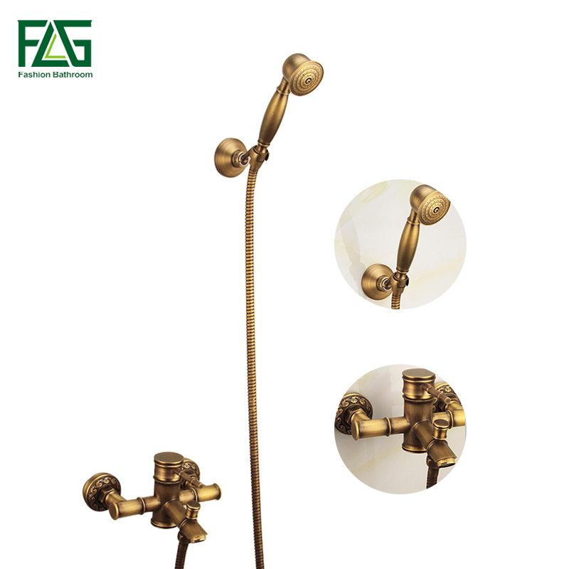 FLG Antique Brass Rainfall Bamboo Shower Faucet Free Shipping Bath Tub Mixer Tap Single Handle Shower Set Wall Mounted HS005 flg free shipping crystal