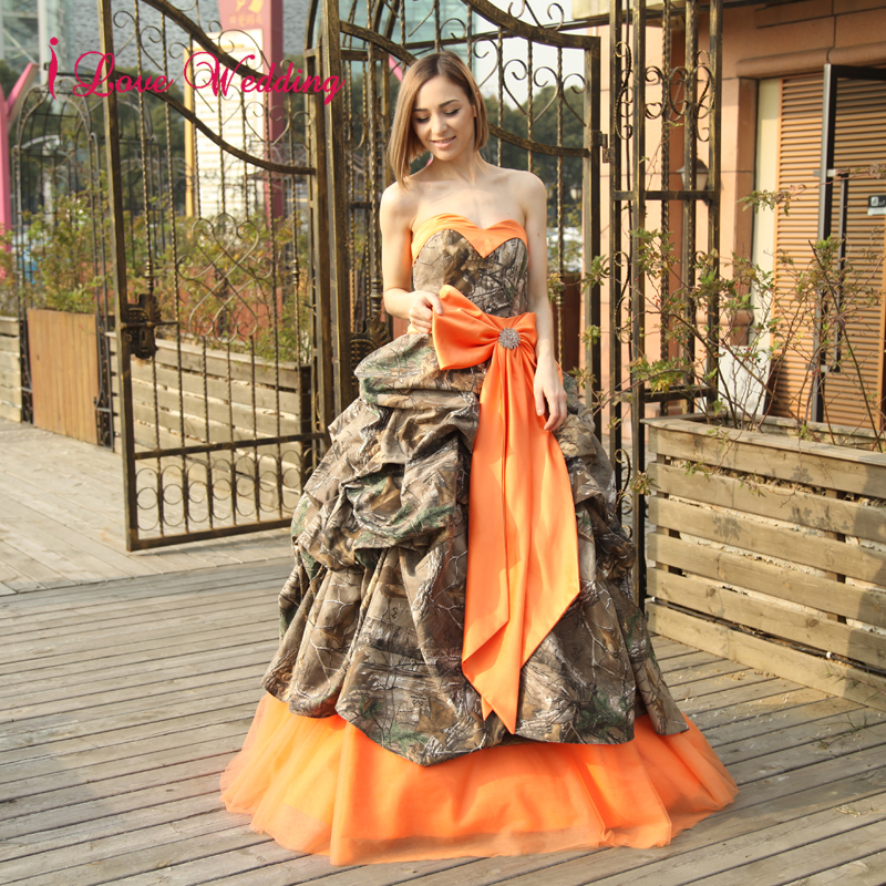 2017 Fashion Camo Wedding Dresses Ball Gown Off the Shoulder Bandage ...