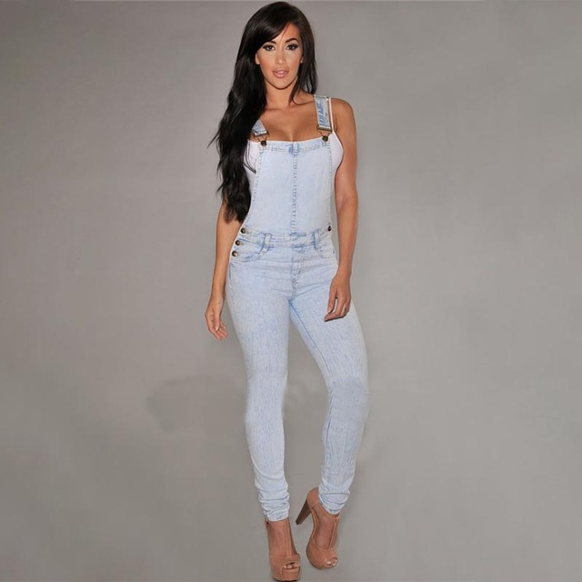 2019 new fashion women casual commuter fashion elastic one-piece denim overalls women's jeans Light cowboy