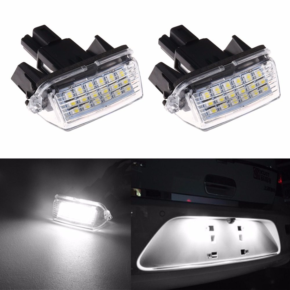 2Pcs 18-SMD LED License Plate Light For Toyota CAMRY 2012-2015 12v Auto Lamp cawanerl car canbus led package kit 2835 smd white interior dome map cargo license plate light for audi tt tts 8j 2007 2012