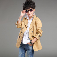 Boy long double-breasted jacket Boy fashion casual style jacket Boy's plain cotton coat 8-12 year old boy clothes