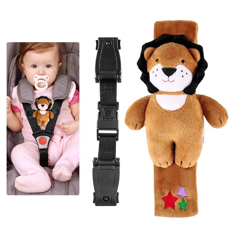 Baby Seat Lock Safety Harness Belt Locking Buckle with A Plush Lion Cover for Child Car Chair Stroller Pram Pushchair