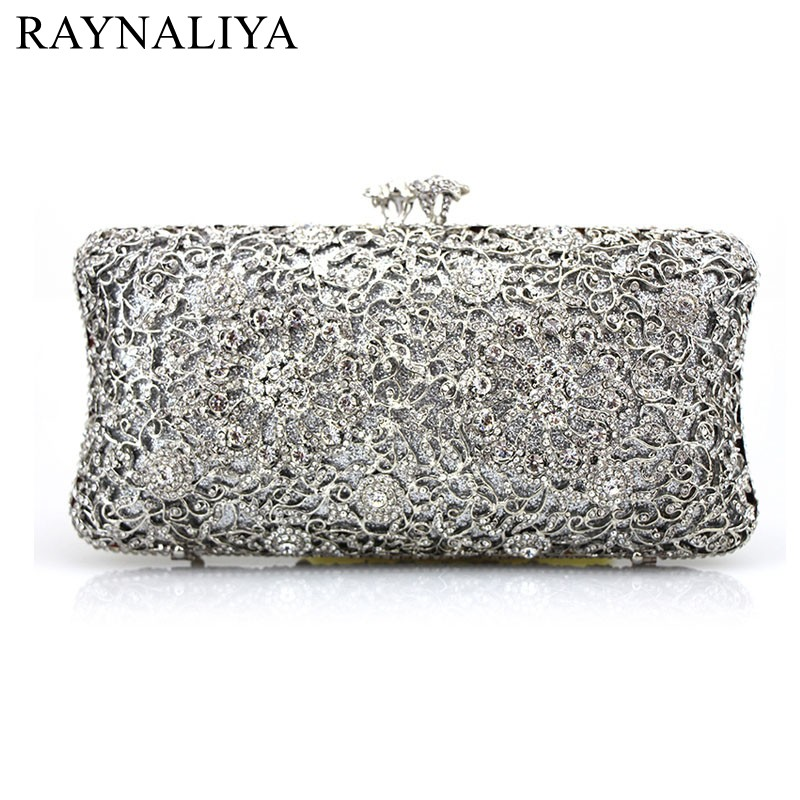 New Fashion Ladies Evening Handbags Party Wedding Purse Luxury Crystal Clutch Bags Chain Silver Style Women Bag SMYCY-F0007