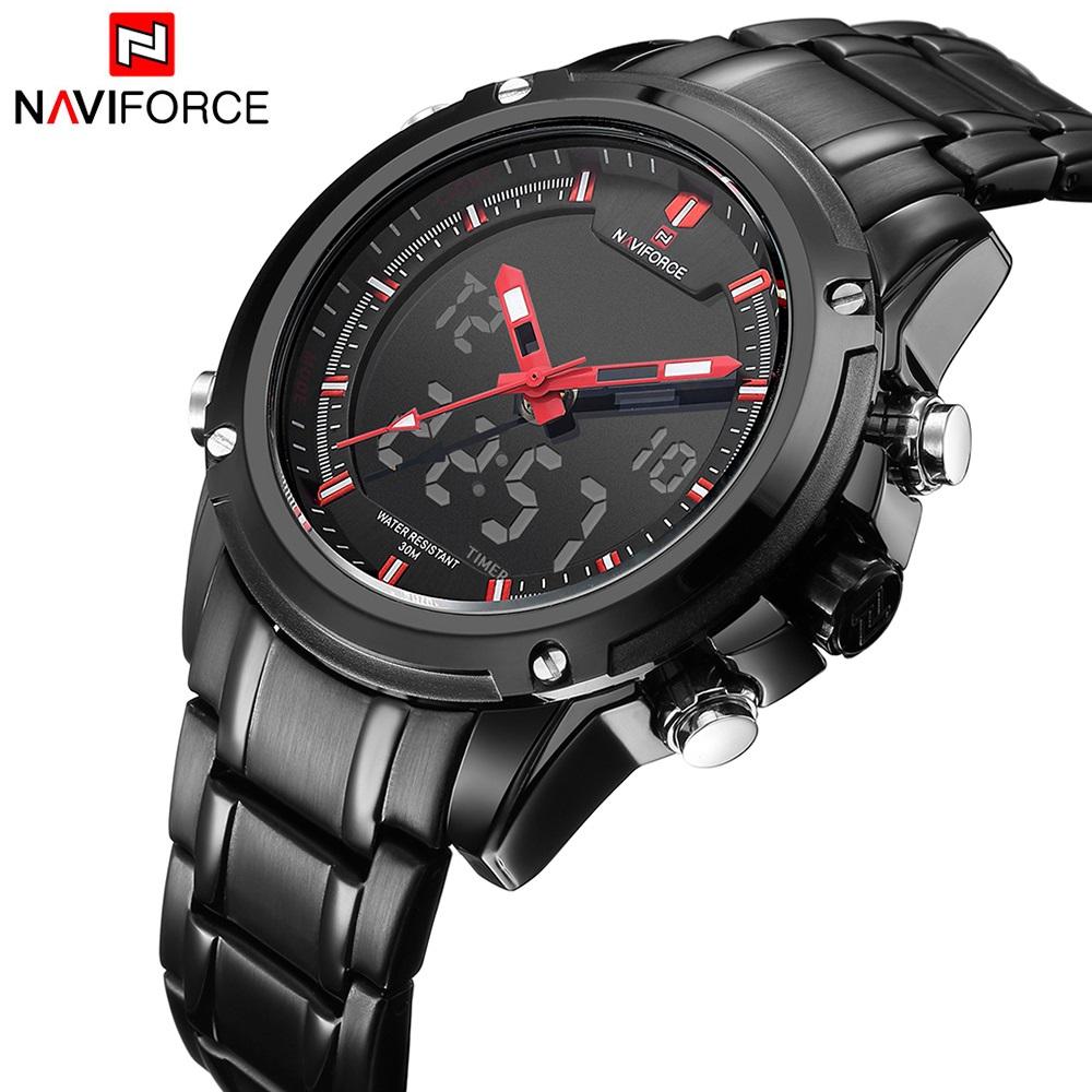 Prix pour NAVIFORCE Hommes Double Affichage Montre Mâle Étanche Sport Militaire Montres LED Numérique montre-Bracelet Date Horloge relogio masculino