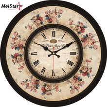 hot deal buy meistar vintage beautiful flower design round clocks silent home cafe office bar kitchen wall decorative large art wall clocks