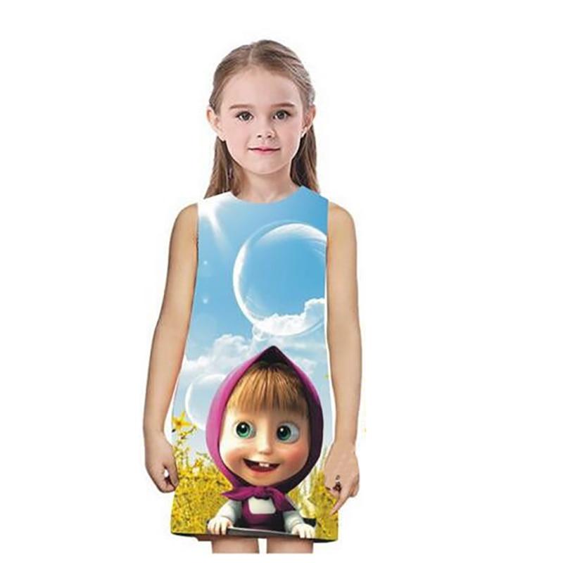 3 Colors Masha and Bear Girl Dress Sleeveless Cute Girls Summer Dresses 2018 Prinsessenjurken Meisjes Reine Des Neige