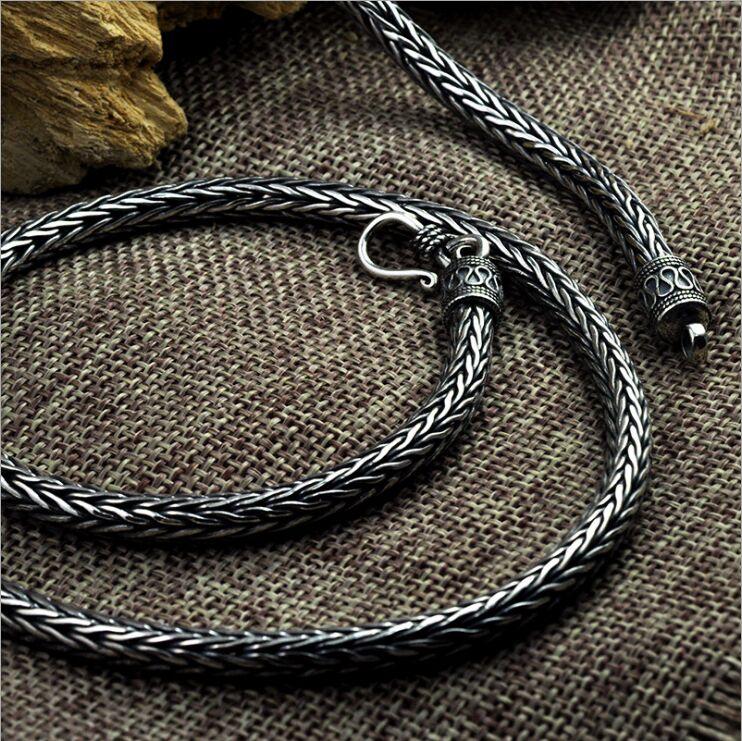 Véritable S925 pur argent tissé à la main motif de paix quille collier corde de chanvre épaisse longue section Thai argent vintage collier pour hommes