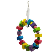 1PC Nontoxic Colorful Creative Natural Wooden Blocks Swing Climbing Toy Chewing Toys Hanging Toy(China)