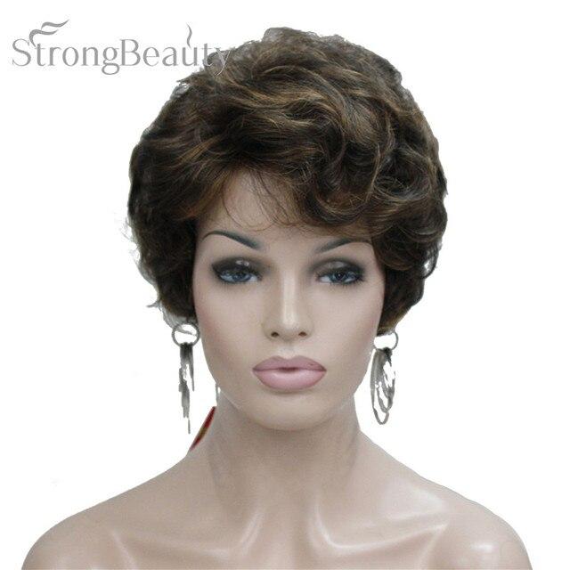 StrongBeauty Kısa Siyah Kahverengi Mix Sarışın Peruk Kadınlar Sentetik Kıvırcık Peruk