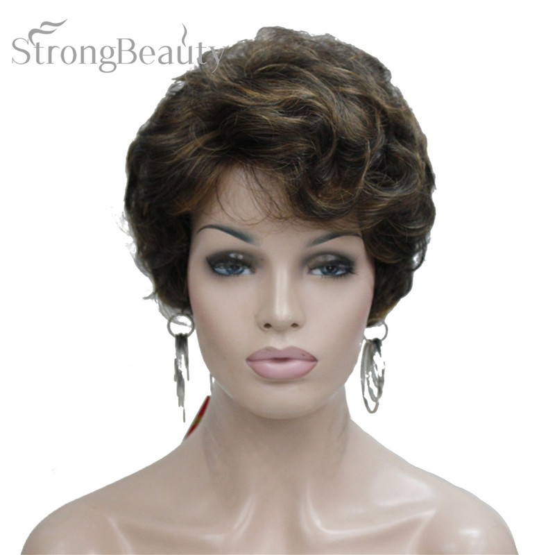 StrongBeauty Short Black Brown Mix Blonde Highlights Wigs Women Synthetic Curly Wigs