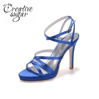 Creativesugar Sexy satin narrow bands sandals summer woman dress shoes ankle strap 4'' high heel black white ivory blue ivory