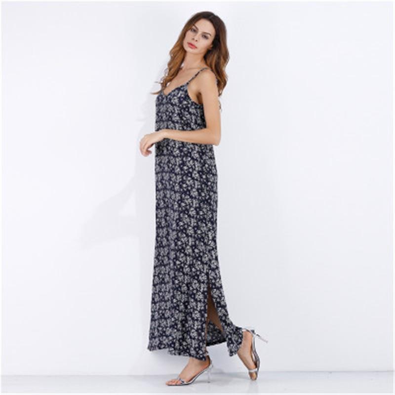 10pcs/lot 2018 Hot Selling Chiffon dress sling beach dress V-neck European and American big swing sexy dress