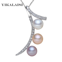 2016 New Fashion 100 Natural Freshwater Pearl Necklace Pendant 925 Sterling Silver Jewelry Zircon 3 Pearl