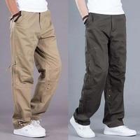 Men Cargo Pocket Pants Loose Straight Hip Hop Long Trousers Autumn Winter Cotton Mens Joggers Wide Leg Big Size S 3XL