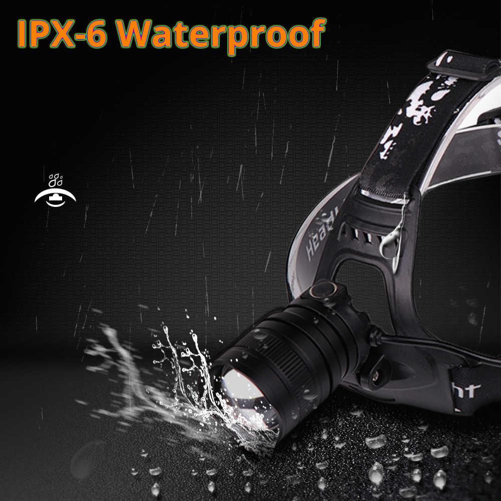 超高輝度 Led ヘッドランプオリジナル Xlamp xhp50 高強力な USB led ヘッドライトヘッドランプ使用 3*18650 懐中電灯トーチ