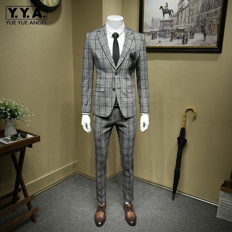 British Formal Grey Plaid Wool Blazer Suit Men Office Costume Homme Bridegroom Wedding Suits Jacket+Vest+Pants Woolen 3pcs Set