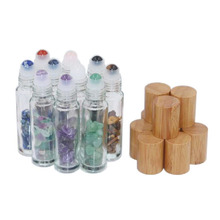 10ml Natural Semiprecious Stones Roll on Bottles Gemstone Essential Oil Roller Bamboo Cover 10pcs/lot P224