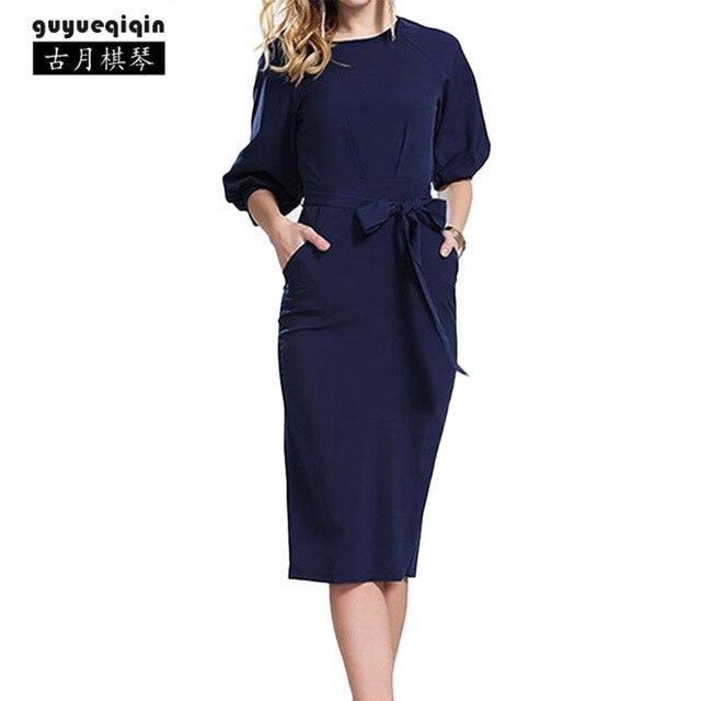 826773e69b0c3 2018 Moda Bahar Sonbahar Şifon Elbise Üç Çeyrek Kollu Avrupa Kalem Elbise  Kadınlar Günlük Elbiseler Vestidos