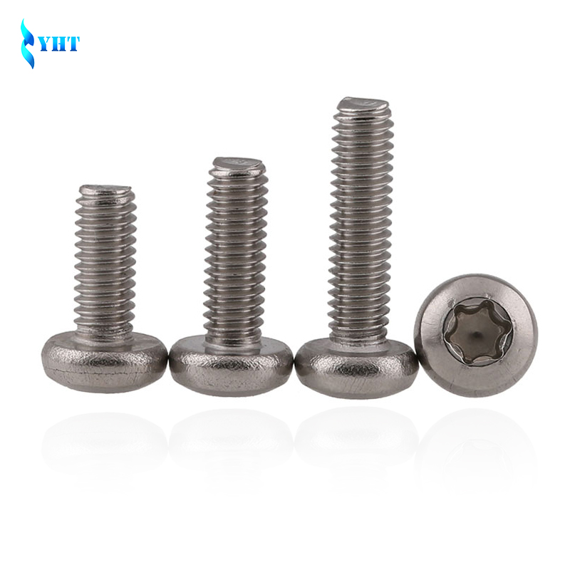 GB2672 SUS304 M2 M2.5 M3 M4 M5 M6 M8 six lobe 304 stainless steel pan head torx machine security screw set round head anti-theft