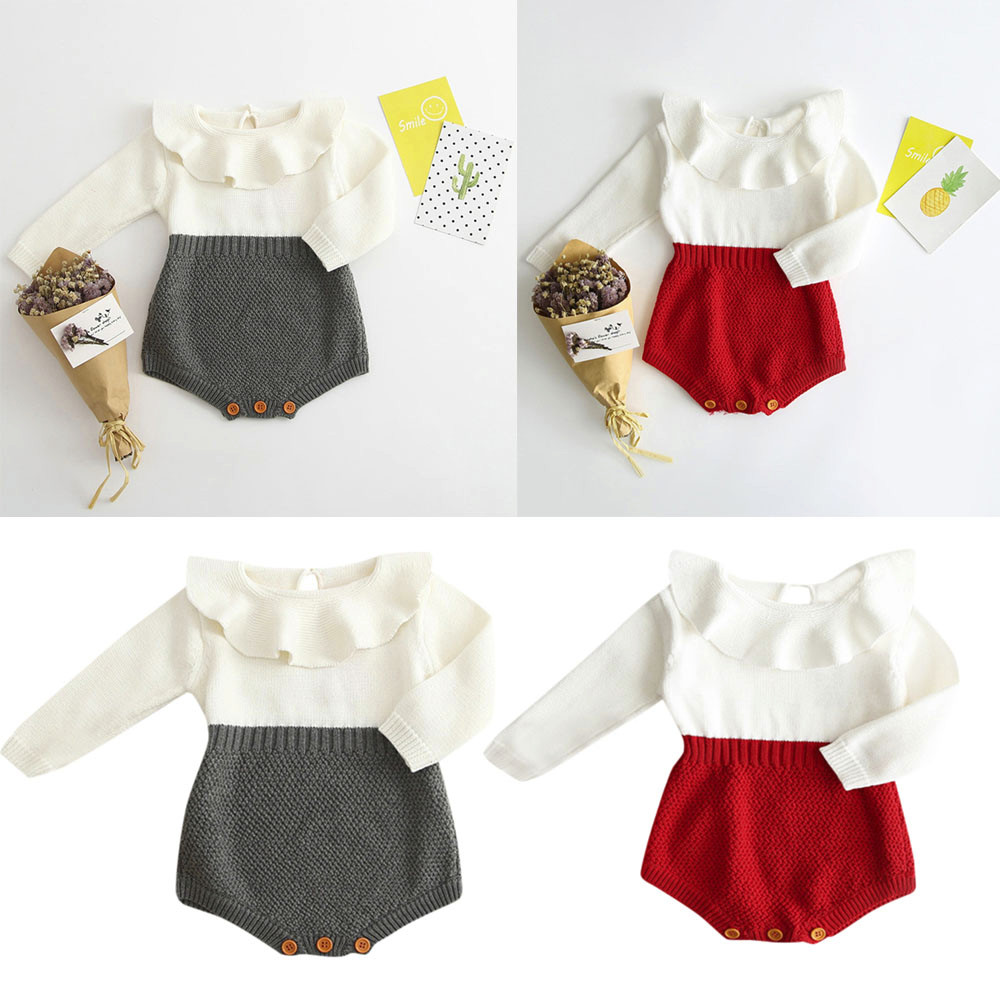 0d459c30c6e47 US $11.23 |Winter knit clothing wool conjoined Princess Romper Two colors  Kids Girls Baby Knitted Sweater Jumpsuit Clothes-in Bodysuits from Mother &  ...