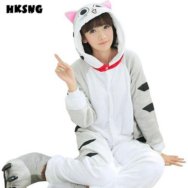 HKSNG Grey Cheese Cat Kigurumi Flannel Winter Cartoon Footed Animal Adult  Pajamas Onesies Cosplay Costumes Best Gift. 1 order c5c7c29e9