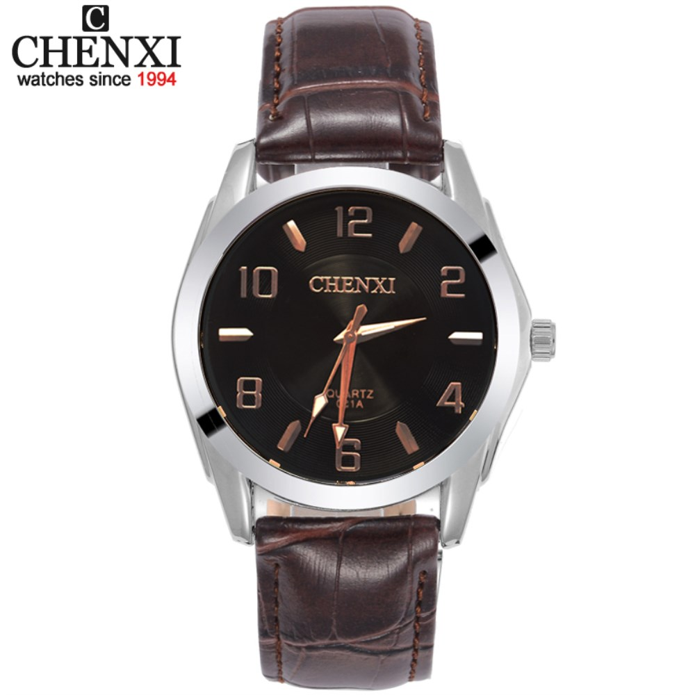 CHENXI Men Wristwatches Leather Watchbands Electronic Watch Men Sports Watches Brown Leather Strap Quartz Clock Casual Male Gift