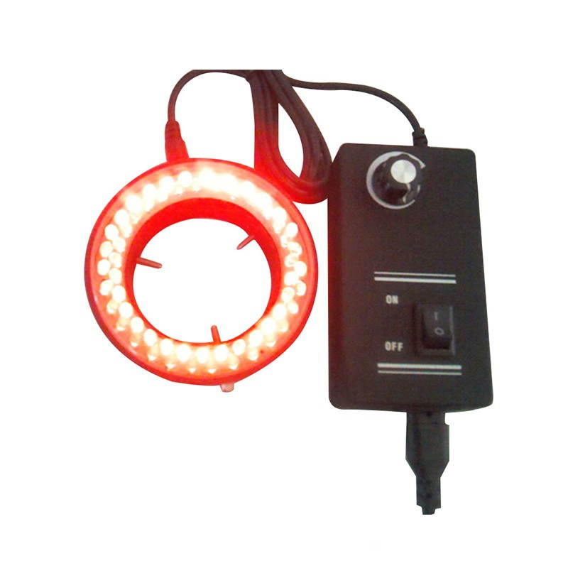 ФОТО Red 60 Led Ring Lamps Red Microscope Light Stereo Biological Zoom Stereo Microscope Illuminated Accessory 220V or 110V Adapter