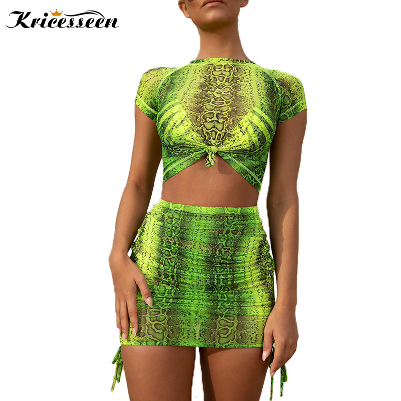 b1e20007e2 Kricesseen Sexy Pretty Python Snake Print Mesh Ruched Two Pieces Skirt Set  Women Neon Green Mini