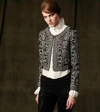 women's slim short jacket 2016 autumn winter fashion high quality black color embroidery vintage short jacket outwear plus size