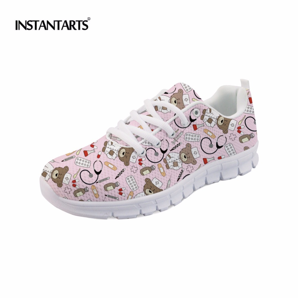 INSTANTARTS Pink Sneakers Women Casual Flats Cute Cartoon Pediatrics Bear Doctor Nurse Pattern Lady Air Mesh Laces Up Flat Shoes instantarts casual teen girls flats shoes appaloosa horse flower pattern women lace up sneakers fashion comfort mesh flat shoes