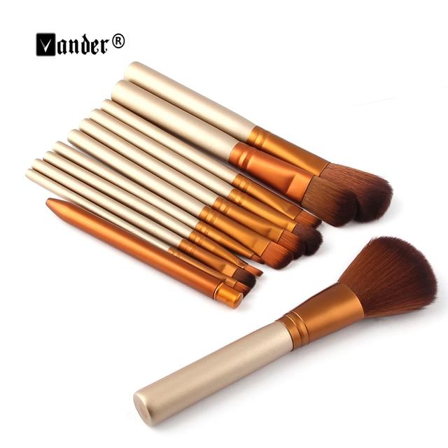 12 pcs Pincéis de Maquiagem Profissional Ferramentas Set Make up Brush Kits de ferramentas Para A Beleza Blush Fundação Da Sombra de Olho Paleta de Lábio Blushes