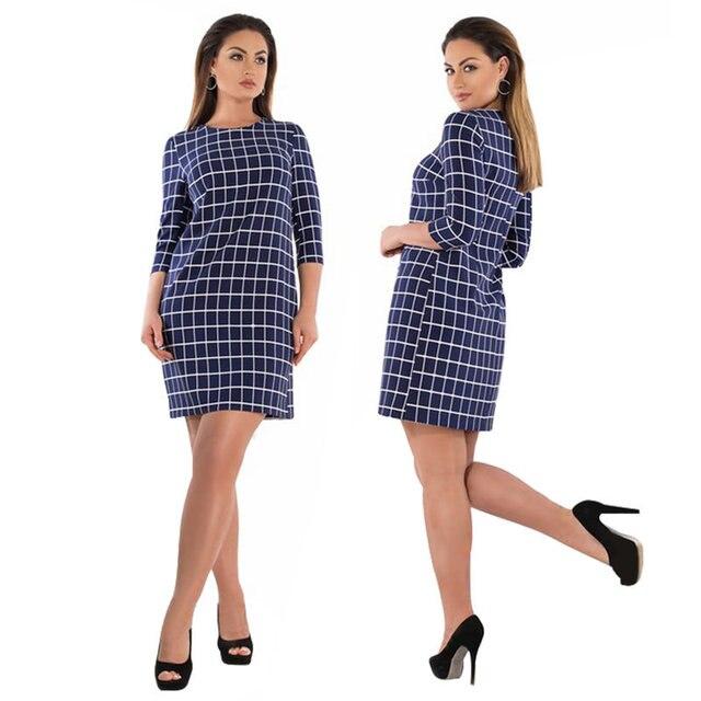 8c9a027e07a US $9.44 49% OFF  2019 New Plus Size XL 6XL Fat MM Women Office Uniforms  Ladies Casual Plaid Party O Neck Dress Deep Blue Colour JTZBD1650 -in  Dresses ...