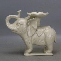 Династия старая песня procelain Yi печи белый застекленная слон статуя держатель керосиновой лампы, поделки, коллекции и украшения