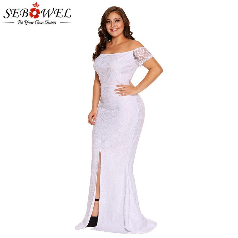 SEBOWEL Elegant White Lace Maxi Party Dress Women Plus Size ...