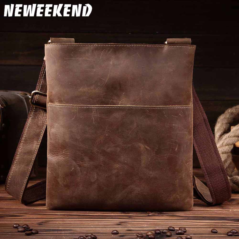 NEWEEKEND Retro Casual Genuine Leather Cowhide Crazy Horse Thin Slight Buckle Shoulder Crossbody iPad Bag for