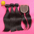 7A Best 100% Unprocessed Virgin Human Hair With Closure,Brazilian Virgin Hair Straight with Closure,Hair Bundles With Closure