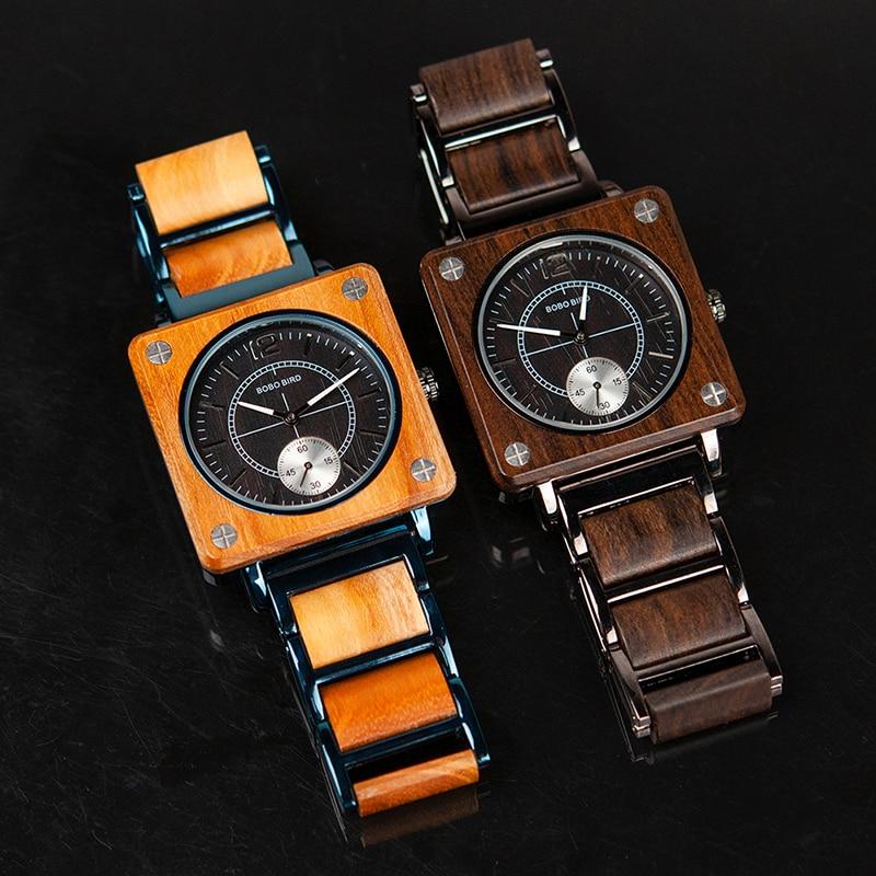 BOBO BIRD 2019 Square Design Unisex Wooden Watches 19