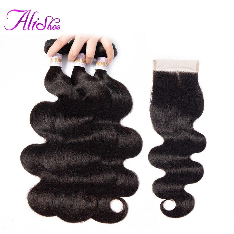 Alishes 3 4 Bundles With Closure Malaysian Hair Bundles With Closure Human Hair Body Wave Bundles
