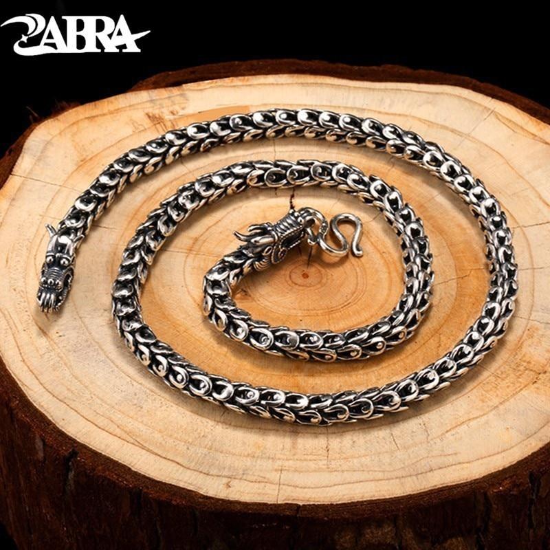 ZABRA Dragonscale Colliers Solide 925 Sterling Argent Vintage Gothique collier Pour Hommes Mode Steampunk Rétro Bijoux