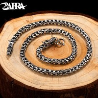 ZABRA Dragonscale Necklaces Solid 925 Sterling Silver Vintage Gothic Chain Necklace For Men Fashion Steampunk Retro Jewelry