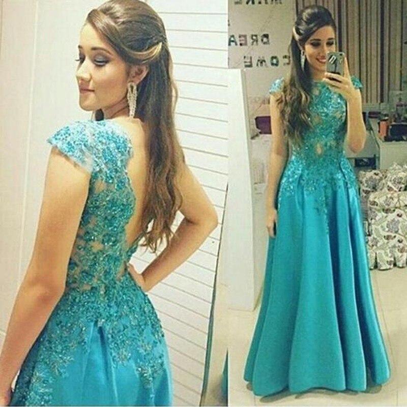 Vestidos de fiesta largos en color turquesa
