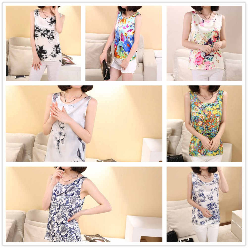 Free shipping 100% pure silk women tank tops basic tops floral silk sleeveless top fashion summer clothing fit M L XL XXL