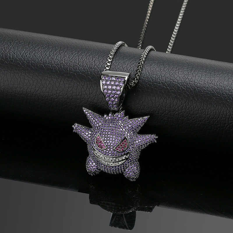 New Arrival Purple AAA CZ Zircon Paved Bling Ice Out Pokemon