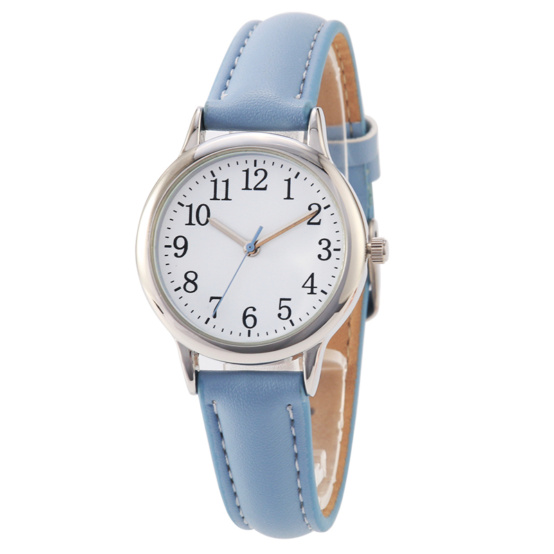 Los números árabes estilo dama reloj de las mujeres de color caramelo correas de cuero banda simple dial